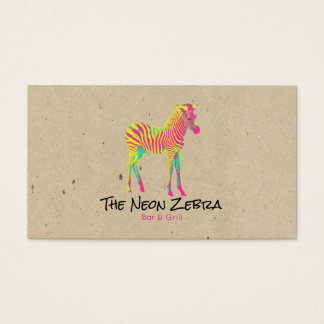Neon Zebra Baby Animal Psychedelic Funky Retro Business Card
