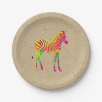 Neon Zebra Baby Animal Psychedelic Funky Retro Paper Plate