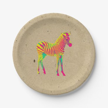 Toddler & Baby themed Neon Zebra Baby Animal Psychedelic Funky Retro Paper Plate
