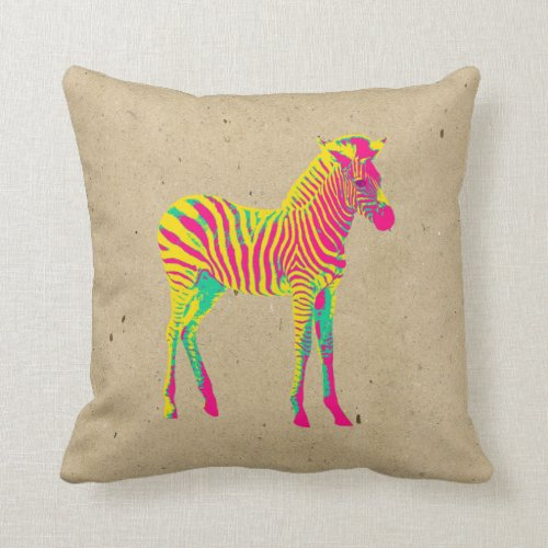 Neon Zebra Baby Animal Psychedelic Funky Retro Throw Pillow