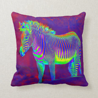 neon zebra pillow