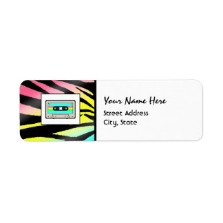 Neon Zebra Print & Cassette Tape Address Labels