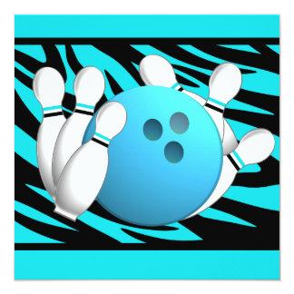 Neon Zebra Stripe Bowling Party 5.25x5.25 Square Paper Invitation Card
