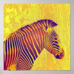 neon zebra- yellow and red retro posters