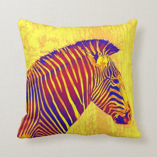 neon zebra- yellow, red throw pillow