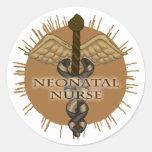 NeoNatal Nurse Caduceus Round Stickers