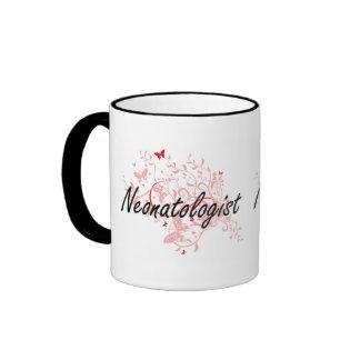 Neonatologist Artistic Job Design with Butterflies Ringer Mug