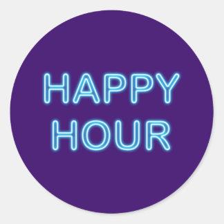 Neonreklame neon sign Happy Hour Runder Aufkleber