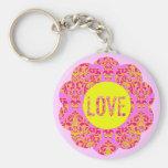 Neons Bubble Gum Pink Damask Love Flower Key Chain