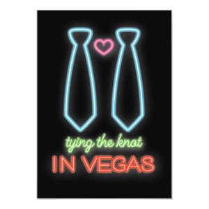NeonTying the knot in Vegas Gay Wedding Invitation