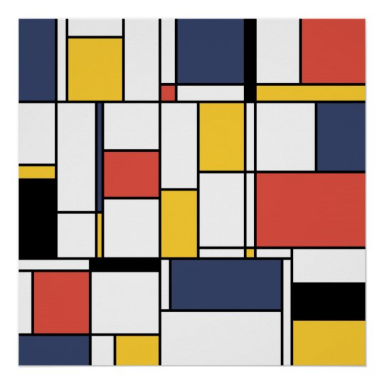 Neoplasticism Abstract Art Of Lines And Shapes Poster