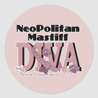 Neopolitan Mastiff DIVA Classic Round Sticker