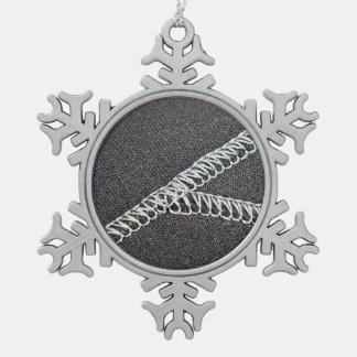 Neoprene seam snowflake pewter christmas ornament