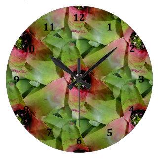 Neoregelia Bromeliad 'Tossed Salad' Large Clock
