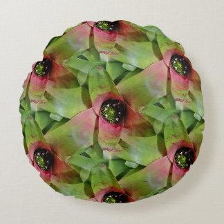 Neoregelia Bromeliad 'Tossed Salad' Round Pillow
