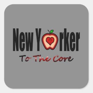 Neoyorquino a la base con Apple grande cortado Calcomanía Cuadradas Personalizadas