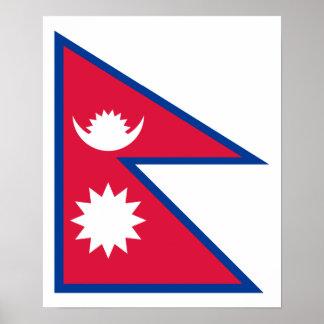 Nepal - bandera del Nepali Póster