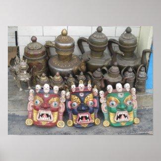 Nepal Deity Mask Keepsakes Poster