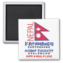 Nepal Earthquake 2 Inch Square Magnet