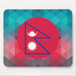 Nepal flag circle on modern bokeh mouse pad