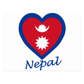 Nepal Flag Heart Postcard