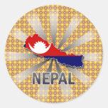 Nepal Flag Map 2.0 Classic Round Sticker