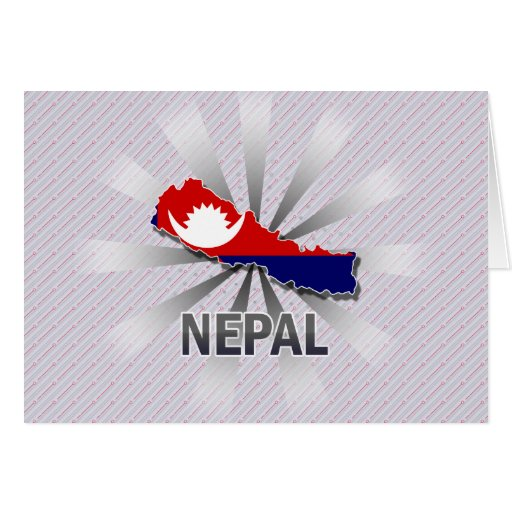 Nepal Flag Map 2.0 Greeting Card