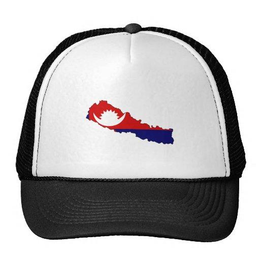 Nepal Flag Map full size Hat