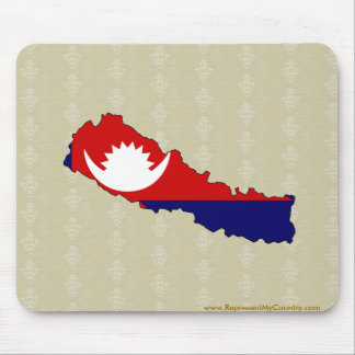 Nepal Flag Map full size Mouse Pad