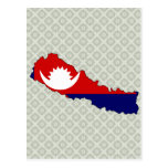 Nepal Flag Map full size Postcards