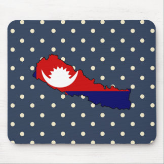 nepal Flag Map on Polka Dots Mouse Pad