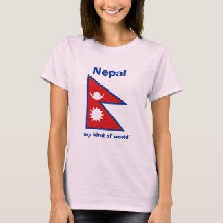 Nepal Flag + Map + Text T-Shirt