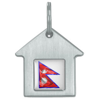 Nepal Flag Pet Name Tag