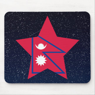 Nepal Flag Star In Space Mouse Pad