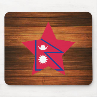 Nepal Flag Star on Wood Mouse Pad
