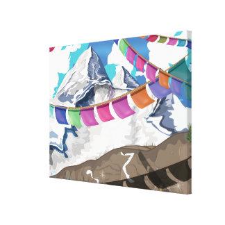 Nepal Himalayan Prayer Flags Travel poster Canvas Print