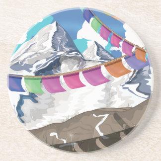 Nepal Himalayan Prayer Flags Travel poster Drink Coaster