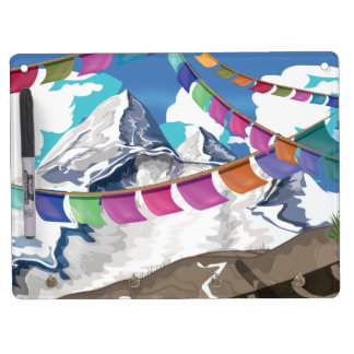Nepal Himalayan Prayer Flags Travel poster Dry Erase Board With Keychain Holder