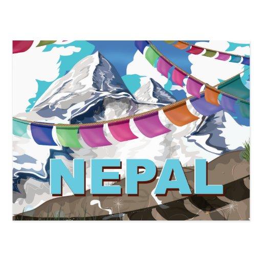 Nepal Himalayan Prayer Flags Travel poster Postcard