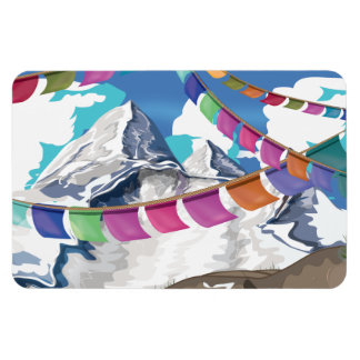 Nepal Himalayan Prayer Flags Travel poster Flexible Magnets