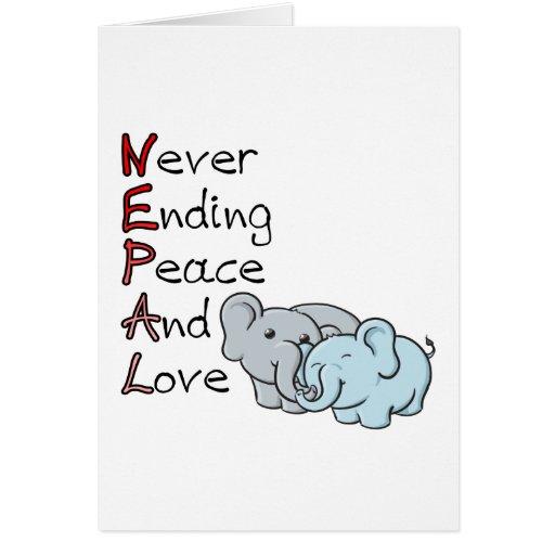Nepal - Never Ending Peace And Love Elephants Card