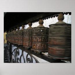 Nepal prayer wheels poster