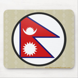 Nepal quality Flag Circle Mousepads