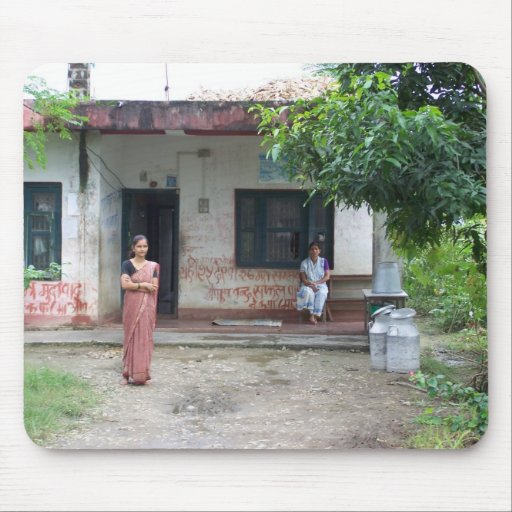 NEPAL WOMEN IN FRONT OF THEIR HOUSE MOUSE PAD