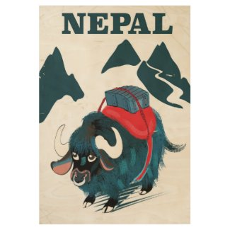 Nepal Yak vintage style travel poster