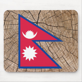 Nepalese flag on tree bark mouse pad