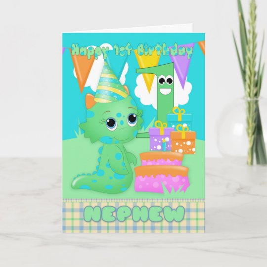 Nephew 1st Birthday Cute Little Monster With Gifts Card