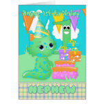 Nephew 1st Birthday Cute Little Monster With Gifts Greeting Card