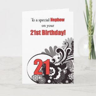 Nephew 21st Birthday Religious Swirls Card