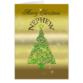 Nephew, a gold effect Christmas card